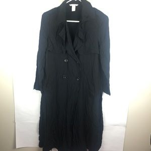 H&M Black Trench Coat With Slits Size 4